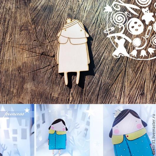 """Человечки ручной работы. Ярмарка Мастеров - ручная работа. Купить арт.055.Подвеска """"Юная принцесса"""". Handmade. Фанера, принцесса"""