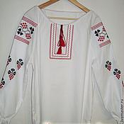 """Русский стиль handmade. Livemaster - original item Рубаха льняная женская """"Виноград"""". Handmade."""