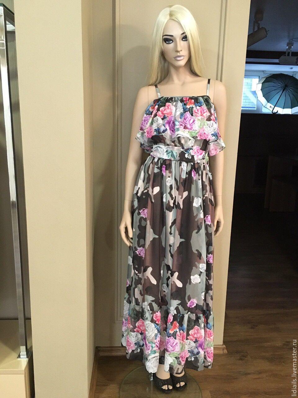 Милитари платье в пол