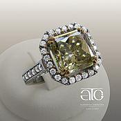 Украшения handmade. Livemaster - original item Gold ring with yellow moissanite and CZ. 585.. Handmade.