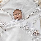 Для дома и интерьера ручной работы. Ярмарка Мастеров - ручная работа Плед детский вязаный из хлопка для новорожденных. Handmade.