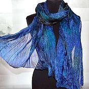 Аксессуары handmade. Livemaster - original item Silk scarf blue emerald brown silk ruffled female. Handmade.