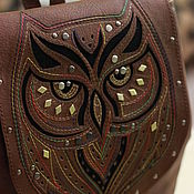 Сумки и аксессуары handmade. Livemaster - original item Backpack genuine leather with applique and embroidery