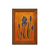 """Картины и панно ручной работы. Ярмарка Мастеров - ручная работа """"Ирисы""""  миниатюрная картина маслом. Handmade."""