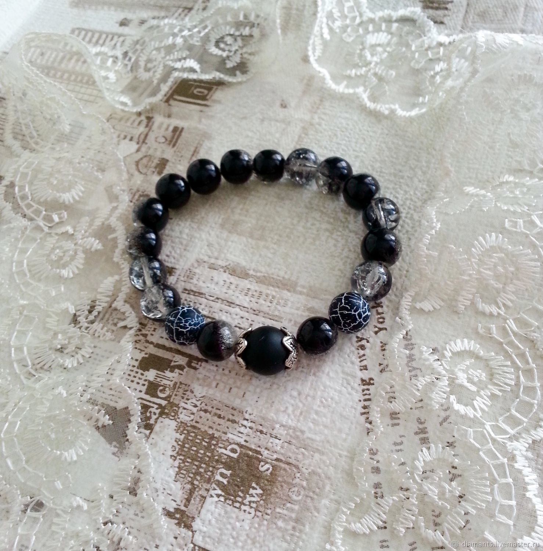 Bracelet of beads of agate, Schungite,glass - Twilight, Bead bracelet, Moscow,  Фото №1