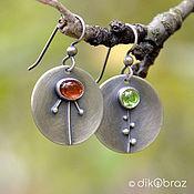Украшения handmade. Livemaster - original item Earrings silver motley Grass round, garnet, peridot. Handmade.