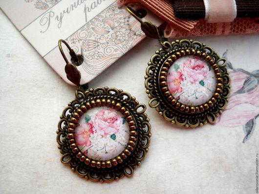 """Серьги ручной работы. Ярмарка Мастеров - ручная работа. Купить Винтажные серьги""""Лепестки розы"""". Handmade. Бледно-розовый, подарок женщине"""