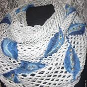 """Аксессуары ручной работы. Ярмарка Мастеров - ручная работа Шарф-снуд """" Голубые розы"""". Handmade."""