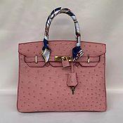 handmade. Livemaster - original item Classic bag made of genuine ostrich leather, custom made!. Handmade.