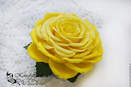 Броши ручной работы. Ярмарка Мастеров - ручная работа. Купить Брошь-заколка желтая Роза из фоамирана. Handmade. Желтый