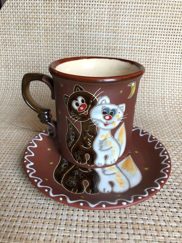 Керамическая чайная пара ручной работы: Худые коты, Чайные пары, Краснодар,  Фото №1