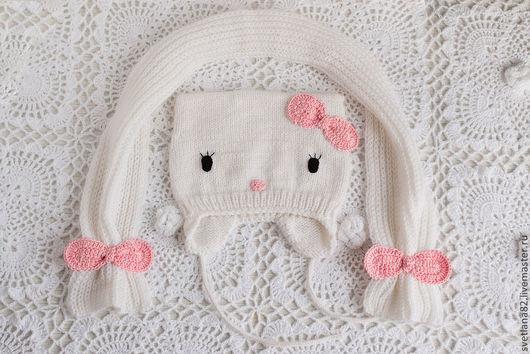 """Для новорожденных, ручной работы. Ярмарка Мастеров - ручная работа. Купить Шапка """"Hello kitty"""" (весна). Handmade. Белый"""