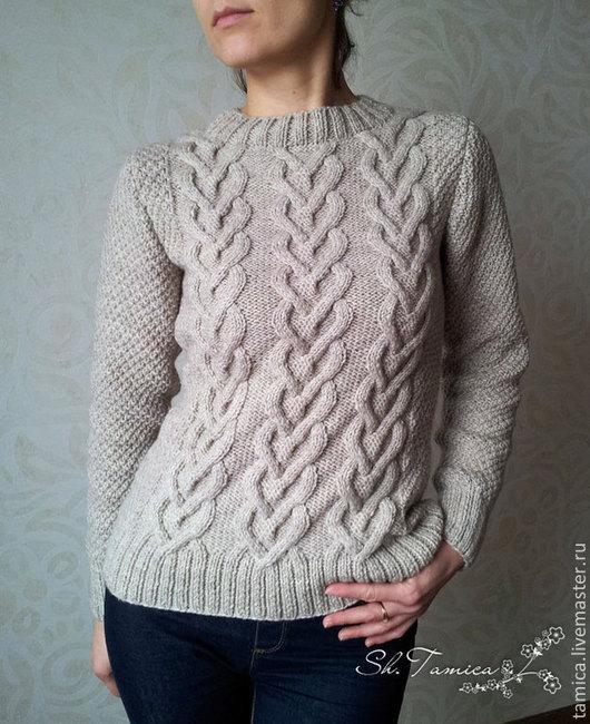 """Кофты и свитера ручной работы. Ярмарка Мастеров - ручная работа. Купить Пуловер """"Сплетение сердец"""". Handmade. Пуловер вязаный, белый"""