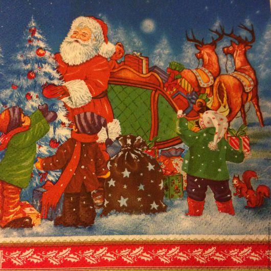 Салфетка для декупажа - Новый год - Дед Мороз с ребятней и елкой Декупажная радость