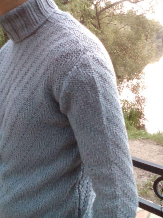 Для мужчин, ручной работы. Ярмарка Мастеров - ручная работа. Купить Мужской свитер. Handmade. Серый, для юноши