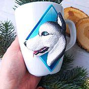 Посуда handmade. Livemaster - original item Mug with a decor made of polymer clay Husky. Handmade.