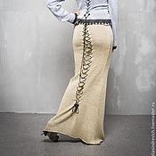 Одежда handmade. Livemaster - original item ГА_018 mermaid Skirt-Lite long with lace-up back, color: yellow-silver. Handmade.