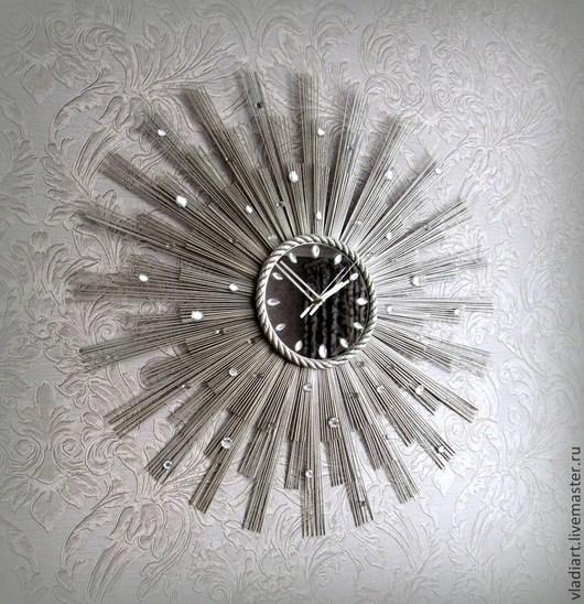 """Часы для дома ручной работы. Ярмарка Мастеров - ручная работа. Купить Настенные часы """"Брызги шампанского-2"""". Handmade. Серебряный"""