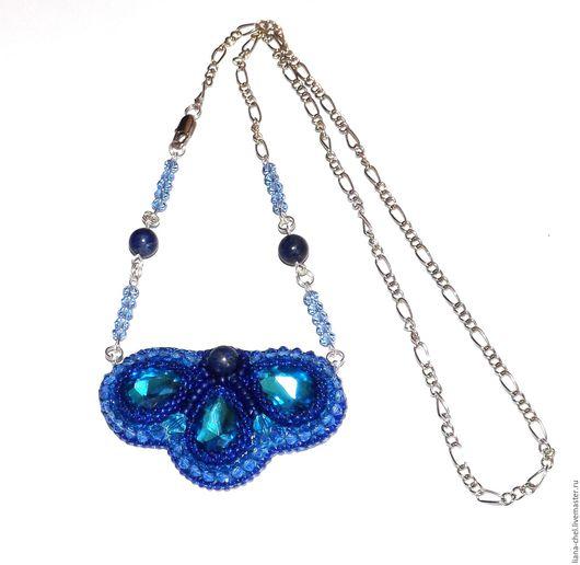 """Кулоны, подвески ручной работы. Ярмарка Мастеров - ручная работа. Купить Кулон """"Синий цветок"""". Handmade. Тёмно-синий, лазурит"""