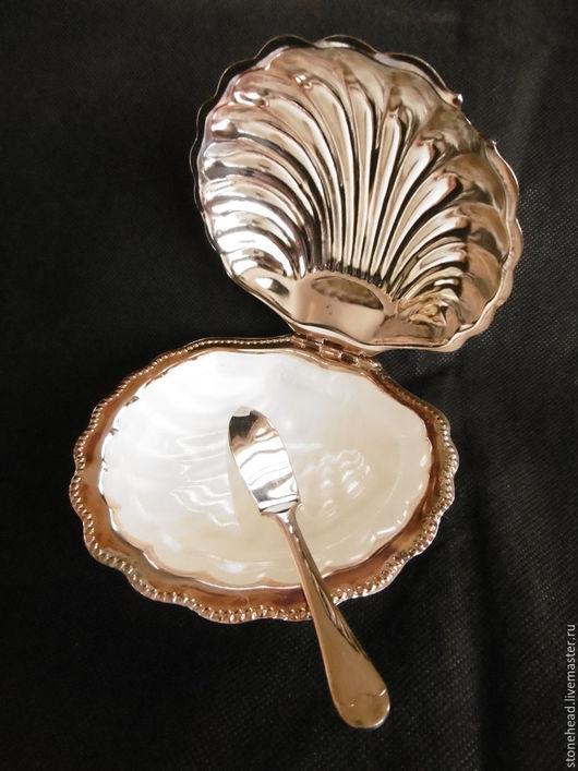 Винтажная посуда. Ярмарка Мастеров - ручная работа. Купить Винтажная маслёнка с ножом. Посеребрение!. Handmade. Масленка, посуда с посеребрением