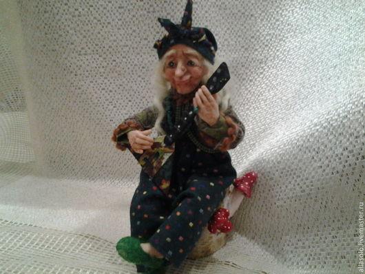 Коллекционные куклы ручной работы. Ярмарка Мастеров - ручная работа. Купить Бабка Ёжка. Handmade. Тёмно-зелёный, фантазийный сюжет