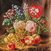 Картины и панно ручной работы. Ярмарка Мастеров - ручная работа натюрморт Цветы и фрукты, вышивка крестом картина, букет. Handmade.