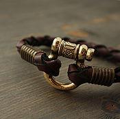 Украшения handmade. Livemaster - original item Bracelet of leather with runes. Handmade.