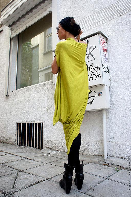 Кофты и свитера ручной работы. Ярмарка Мастеров - ручная работа. Купить Свободная туника Mustard-Neon. Handmade. Туника