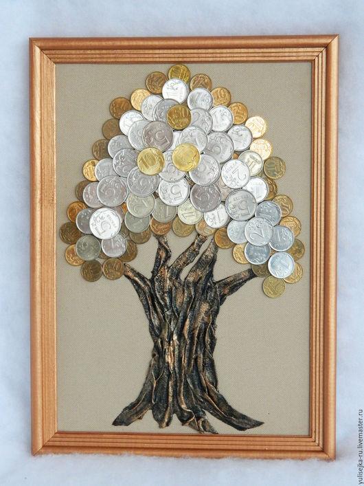 """Фантазийные сюжеты ручной работы. Ярмарка Мастеров - ручная работа. Купить панно """"Денежное дерево"""". Handmade. Бежевый, денежный, сувенир"""