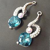 Материалы для творчества handmade. Livemaster - original item Pendant made of brass art. 7-11 with blue crystal and cubic Zirconia. Handmade.