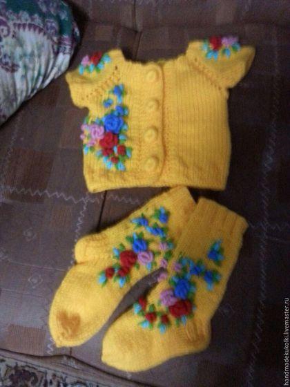 Одежда для девочек, ручной работы. Ярмарка Мастеров - ручная работа. Купить детская жилетка и гольфы в комплекте. Handmade. Жилет, комплект