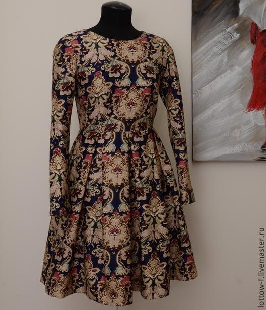 Платья ручной работы. Ярмарка Мастеров - ручная работа. Купить Платье. Handmade. Платье повседневное, платье для офиса, хлопок, орнамент