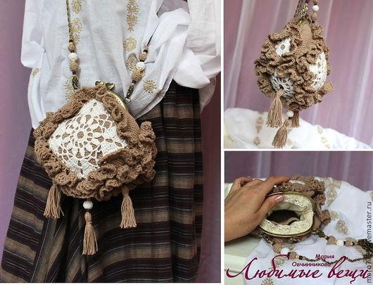 маленькая сумочка, вязаная сумочка, льняная сумочка, сумочка на цепочке, клатч, сумочка через плечо, эко стиль, бохо стиль, этника, красивая сумочка, летняя сумочка лен, кисти, бахрома