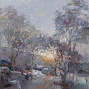 Картины и панно handmade. Livemaster - original item Village before sunset Original landscape painting. Handmade.