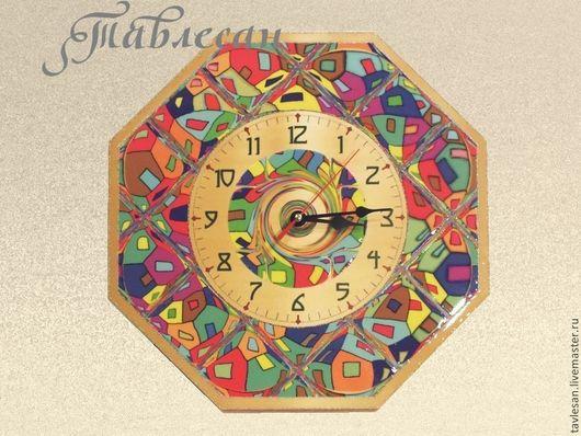 """Часы для дома ручной работы. Ярмарка Мастеров - ручная работа. Купить Часы настенные """"Яркие краски"""" в гостиную. Handmade."""
