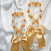 """Свадебный салон ручной работы. Ярмарка Мастеров - ручная работа Свадебные бокалы """"Золотая роза"""". Handmade."""