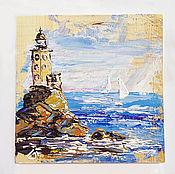 Картины и панно handmade. Livemaster - original item painting on wood of a lighthouse Bay, on. Sakhalin, Russia.. Handmade.