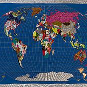 Элементы интерьера ручной работы. Ярмарка Мастеров - ручная работа Карта мира из кусочков ткани - ручная работа. Handmade.