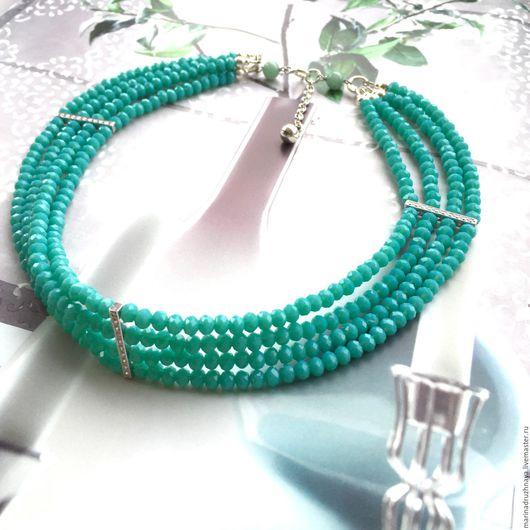 """Колье, бусы ручной работы. Ярмарка Мастеров - ручная работа. Купить """"Melissa"""" Серебряное ожерелье. Handmade. Мятный, серебряное украшение"""