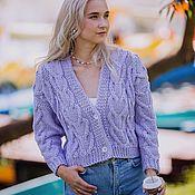 Одежда handmade. Livemaster - original item cardigans: Women`s knitted cardigan oversized purple color. Handmade.