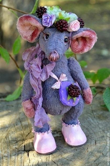 Мишки Тедди ручной работы. Ярмарка Мастеров - ручная работа Мышка тедди Ежевичка. Handmade.