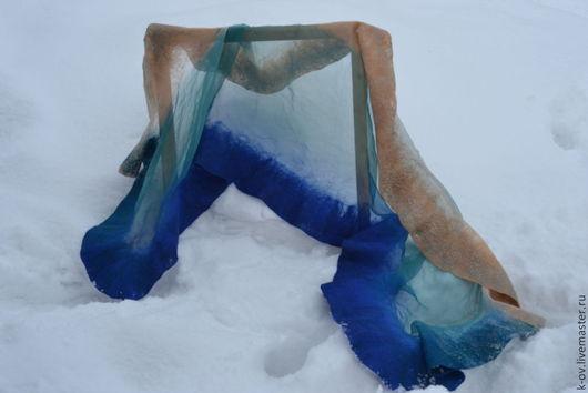 Шарфы и шарфики ручной работы. Ярмарка Мастеров - ручная работа. Купить шарф женский из крепдешина валяный. Handmade. Синий, шарф