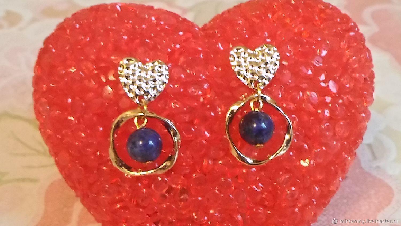 Stud earrings with lapis Lazuli, Stud earrings, Sasovo,  Фото №1