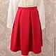 Юбки ручной работы. Ярмарка Мастеров - ручная работа. Купить Красная юбка со складками. Handmade. Ярко-красный