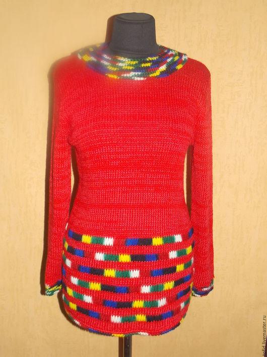 Кофты и свитера ручной работы. Ярмарка Мастеров - ручная работа. Купить Красная туника. Handmade. Ярко-красный, кофта, туника