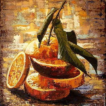Картины и панно ручной работы. Ярмарка Мастеров - ручная работа Апельсин. Рыжий. Картина маслом, холст на подрамнике. Handmade.