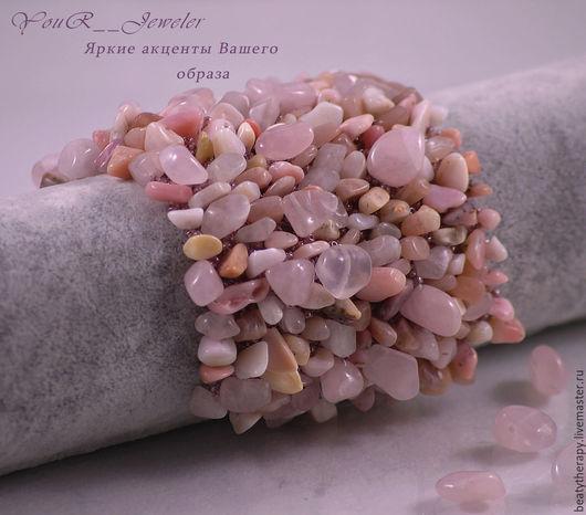 """Браслеты ручной работы. Ярмарка Мастеров - ручная работа. Купить Широкий розовый браслет из натуральных камней """"Pink fairy"""". Handmade."""