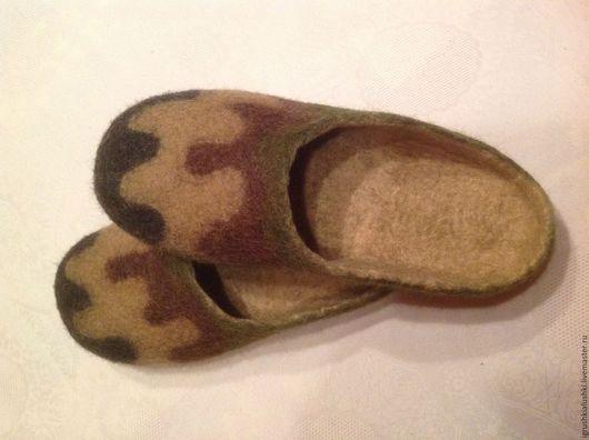 Обувь ручной работы. Ярмарка Мастеров - ручная работа. Купить Тапочки мужские валяные из 100% мериносовой шерсти ручной работы. Handmade.