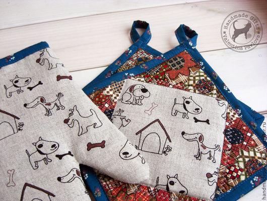 Льняной кухонный комплект `собачки`, 2 прихватки плюс рукавица.