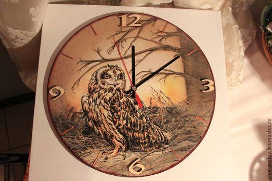 """Часы для дома ручной работы. Ярмарка Мастеров - ручная работа. Купить Часы """"Сова"""". Handmade. Коричневый, Декупаж, деревянная заготовка"""